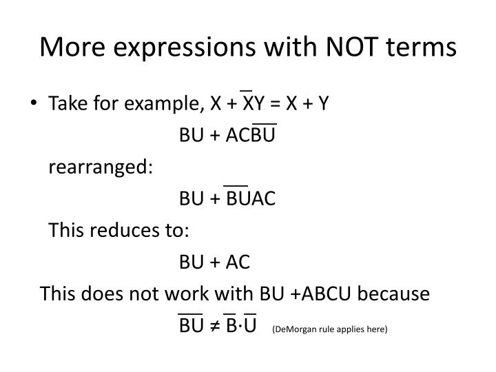 More expressions with NOT terms