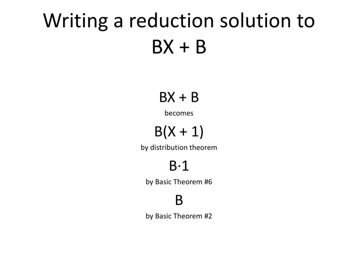 Writing a reduction solution to
