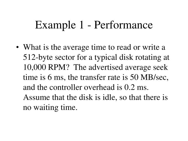 Example 1 - Performance