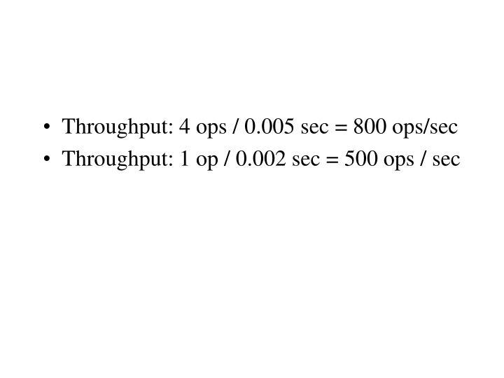Throughput: 4 ops / 0.005 sec = 800 ops/sec