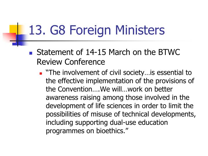 13. G8 Foreign Ministers