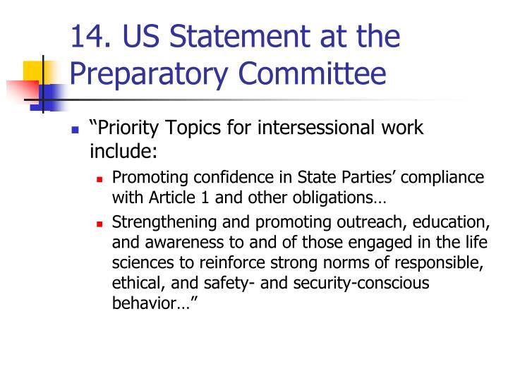 14. US Statement at the Preparatory Committee
