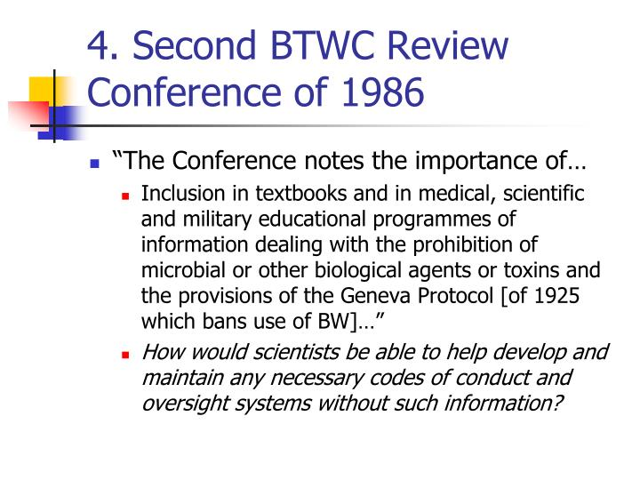 4. Second BTWC Review Conference of 1986