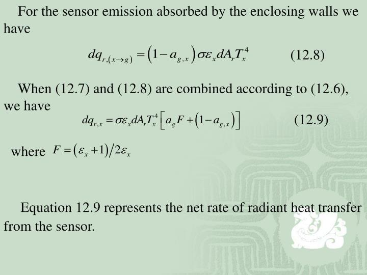 For the sensor emission absorbed by the enclosing walls we have