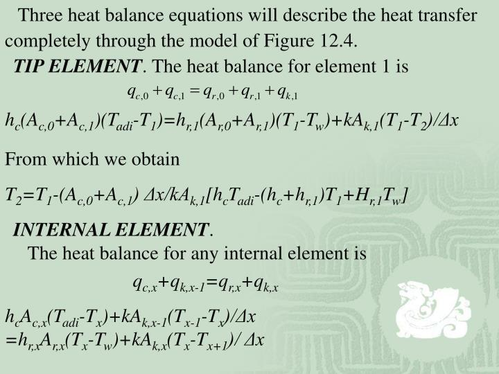 Three heat balance equations will describe the heat transfer completely through the model of Figure 12.4.