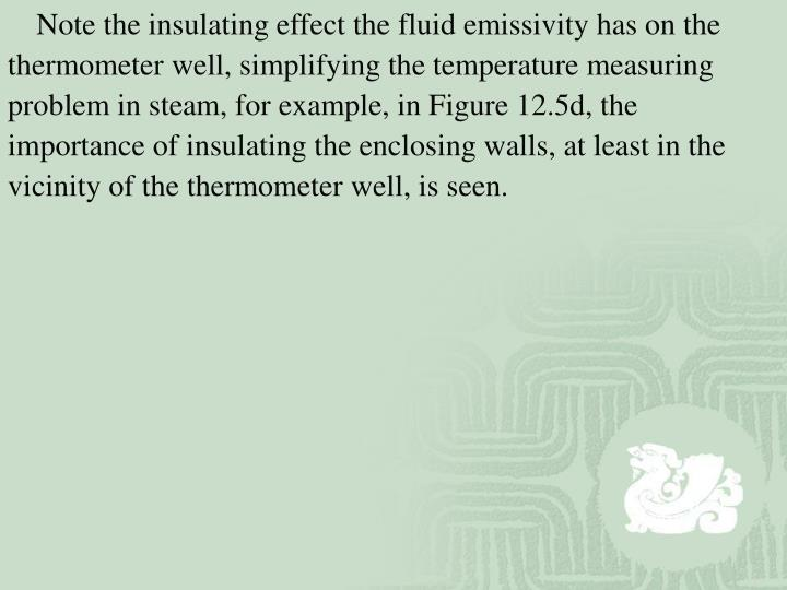 Note the insulating effect the fluid emissivity has on the thermometer well, simplifying the temperature measuring problem in steam, for example, in Figure 12.5d, the importance of insulating the enclosing walls, at least in the vicinity of the thermometer well, is seen.