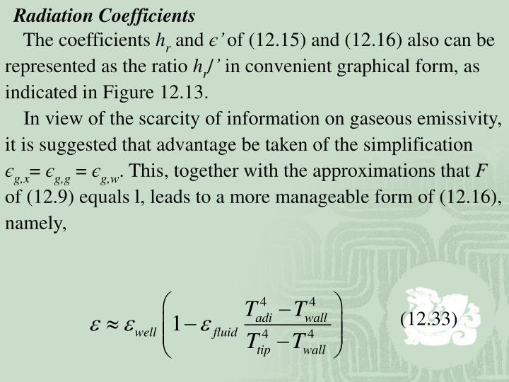 Radiation Coefficients