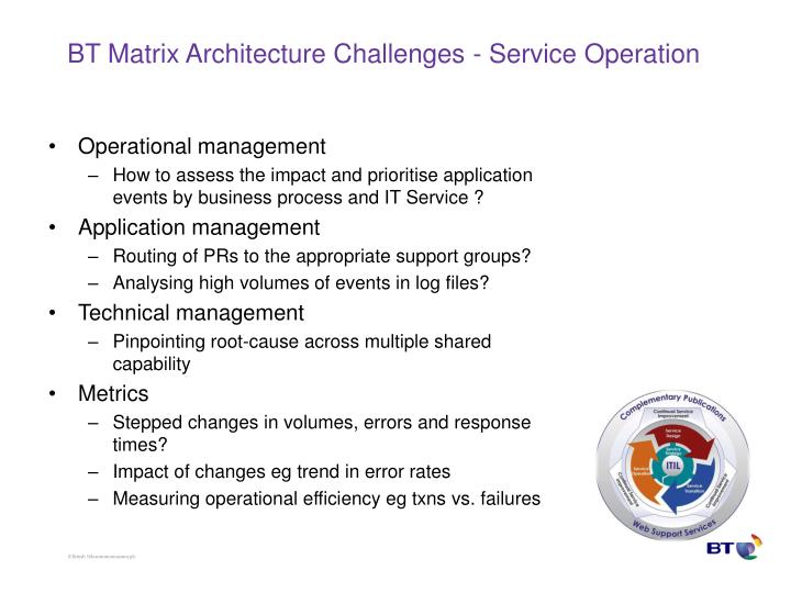 BT Matrix Architecture Challenges - Service Operation