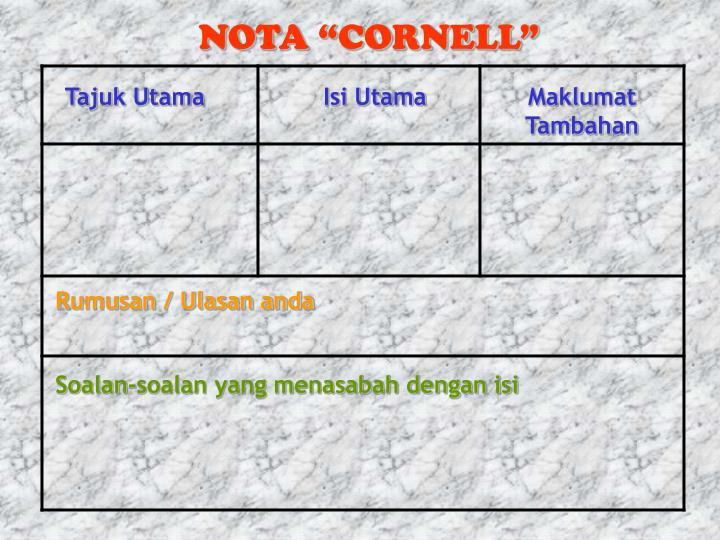 """NOTA """"CORNELL"""""""