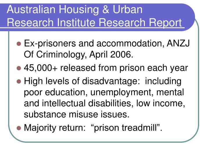 Australian Housing & Urban Research Institute Research Report
