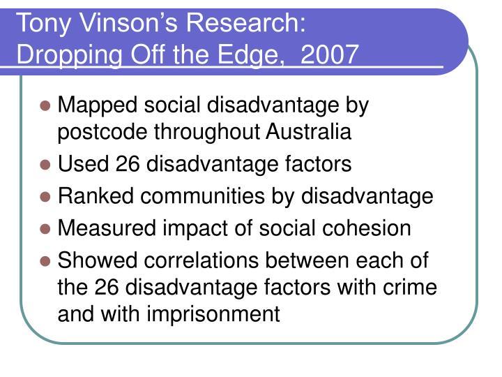 Tony Vinson's Research: