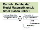 contoh pembuatan model matematik untuk stock bahan bakar
