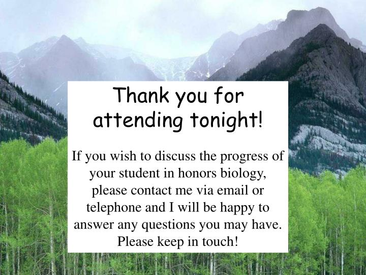 Thank you for attending tonight!