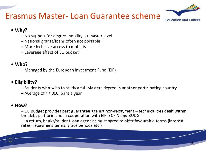 Erasmus Master- Loan Guarantee scheme