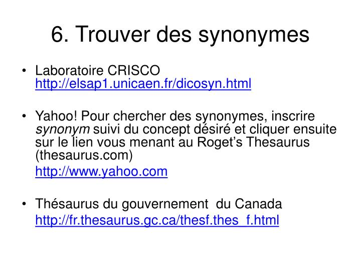6. Trouver des synonymes