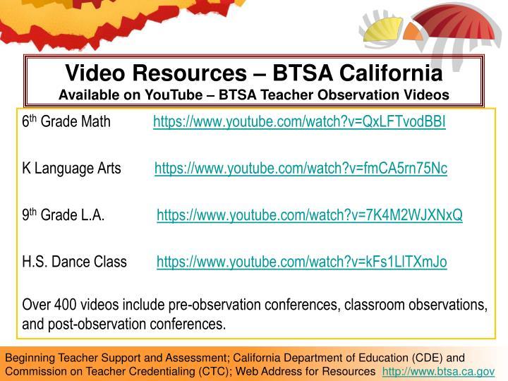Video Resources – BTSA California