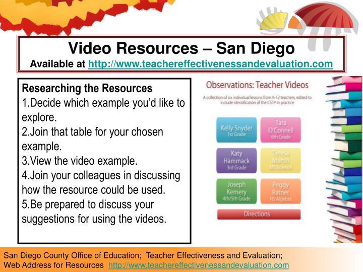 Video Resources – San Diego