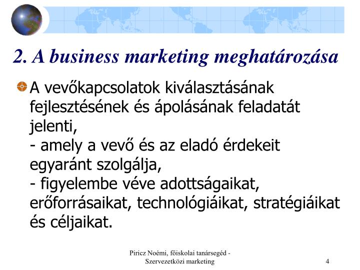 2. A business marketing meghatározása
