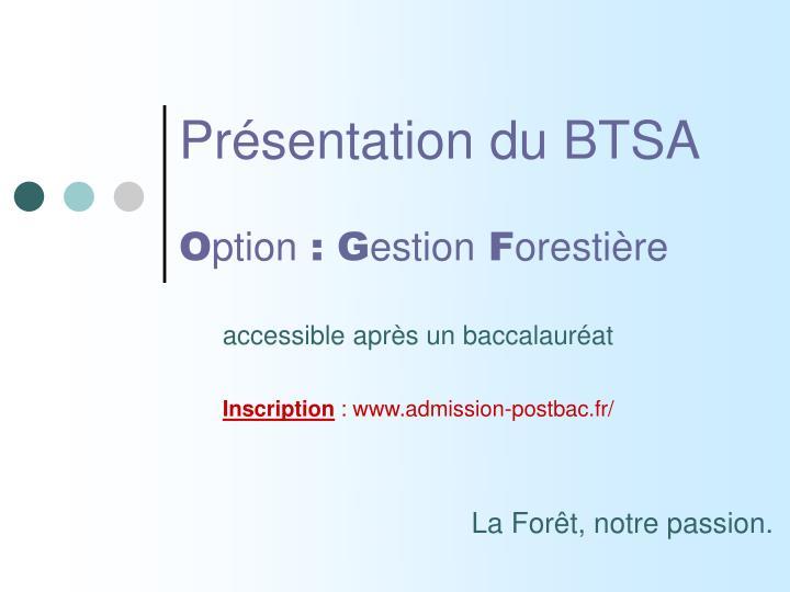 Présentation du BTSA