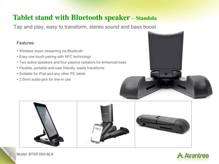 Tablet stand with Bluetooth speaker