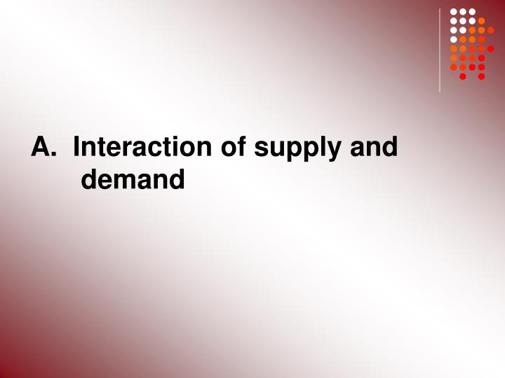 A.  Interaction of supply and 	demand