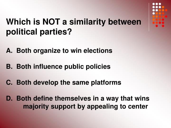Which is NOT a similarity between political parties?