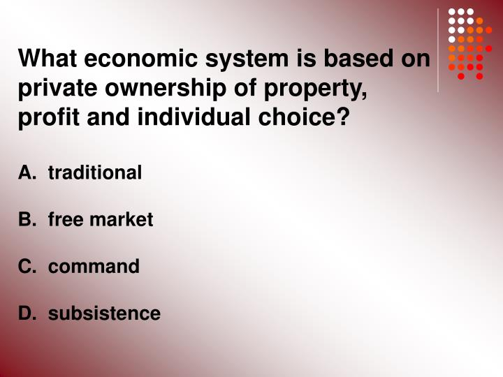 What economic system is based on private ownership of property, profit and individual choice?