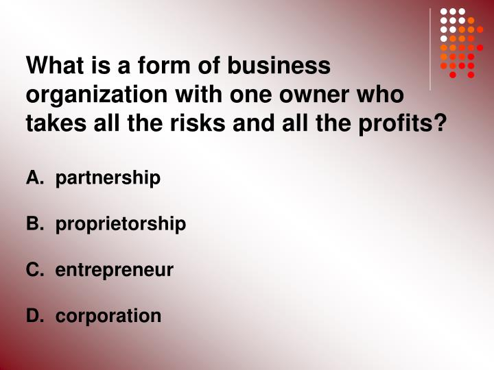 What is a form of business organization with one owner who takes all the risks and all the profits?