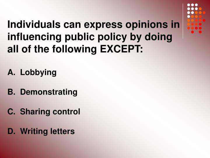 Individuals can express opinions in influencing public policy by doing all of the following EXCEPT: