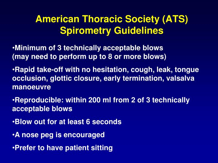 American Thoracic Society (ATS) Spirometry Guidelines