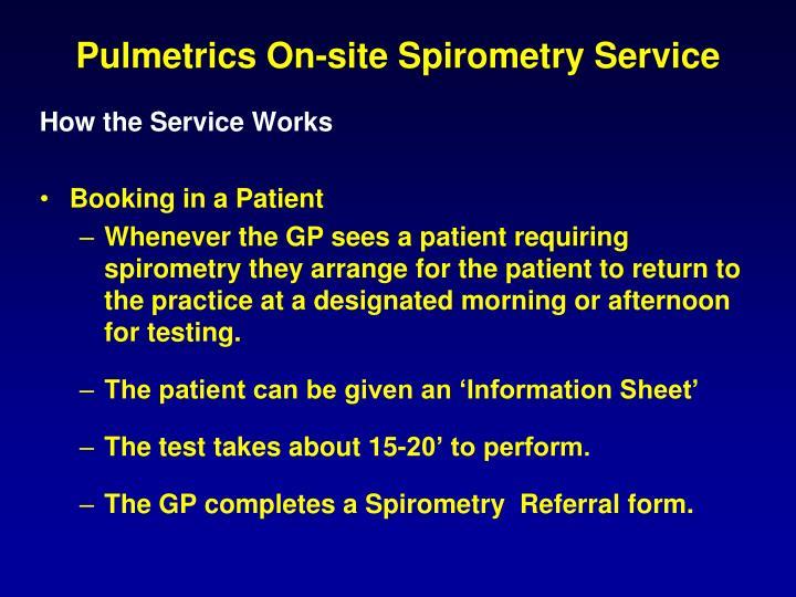 Pulmetrics On-site Spirometry Service