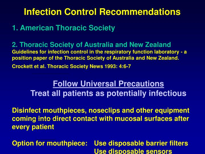 Infection Control Recommendations