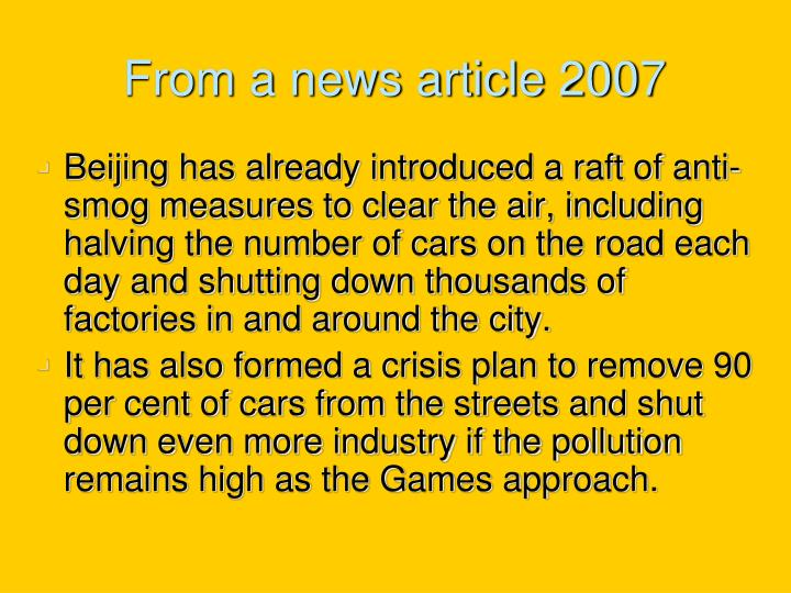 From a news article 2007