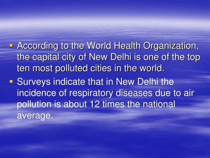 According to the World Health Organization, the capital city of New Delhi is one of the top ten most polluted cities in the world.