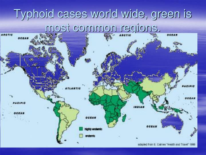 Typhoid cases world wide, green is most common regions.