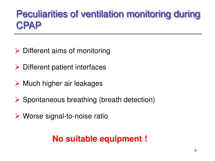 Peculiarities of ventilation monitoring during CPAP