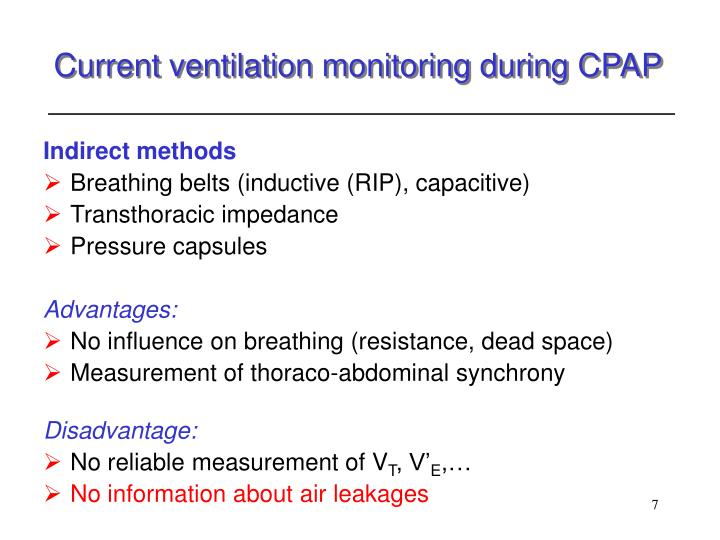 Current ventilation monitoring during CPAP