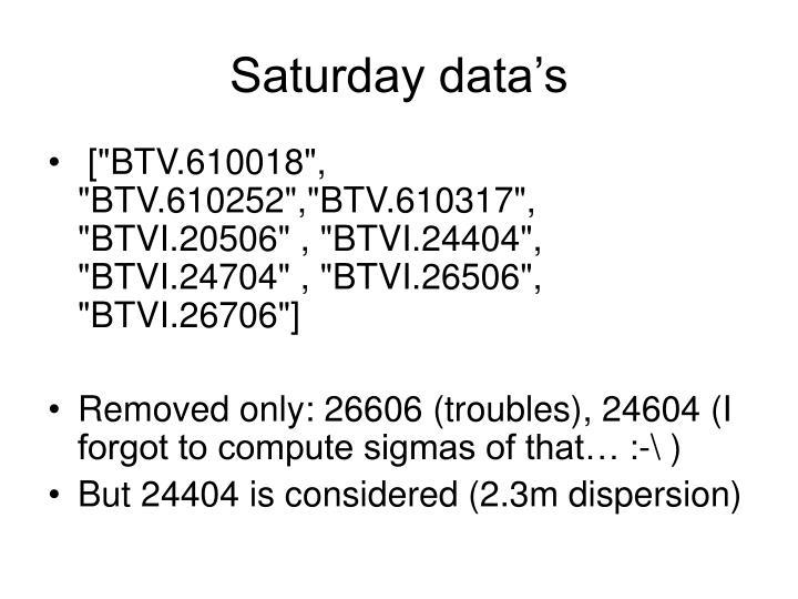 Saturday data's