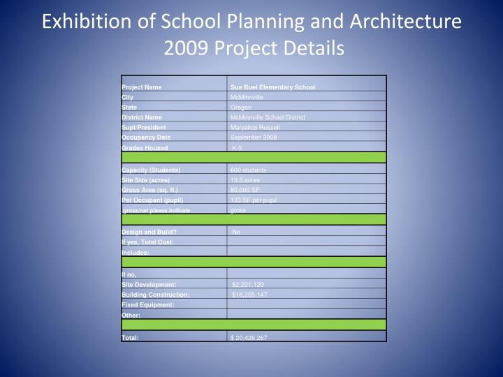 Exhibition of School Planning and Architecture