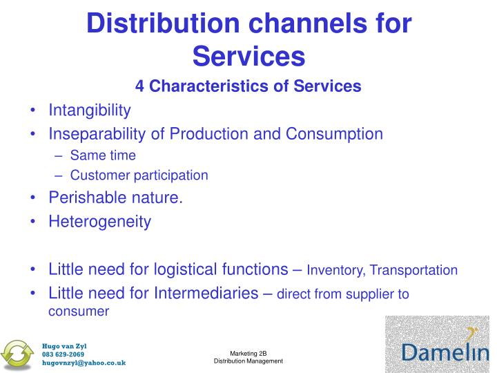 Distribution channels for Services