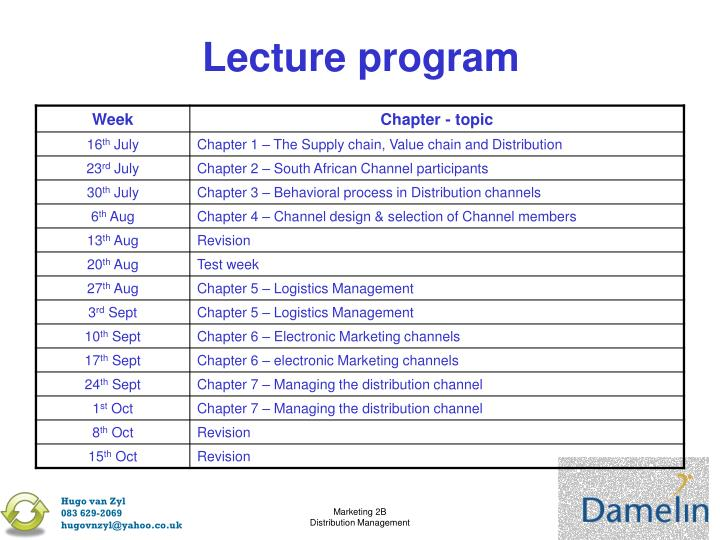 Lecture program