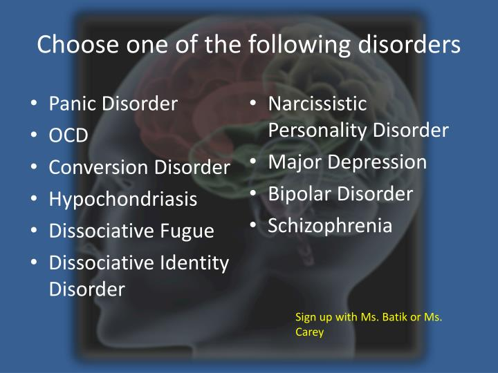 Choose one of the following disorders