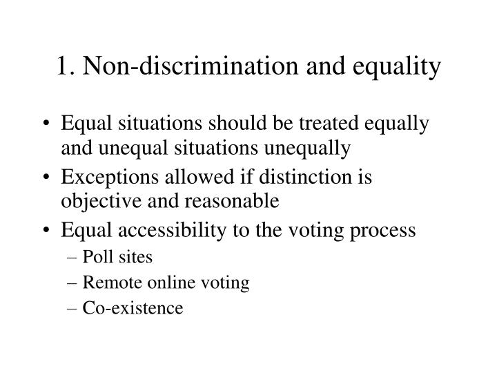1. Non-discrimination and equality