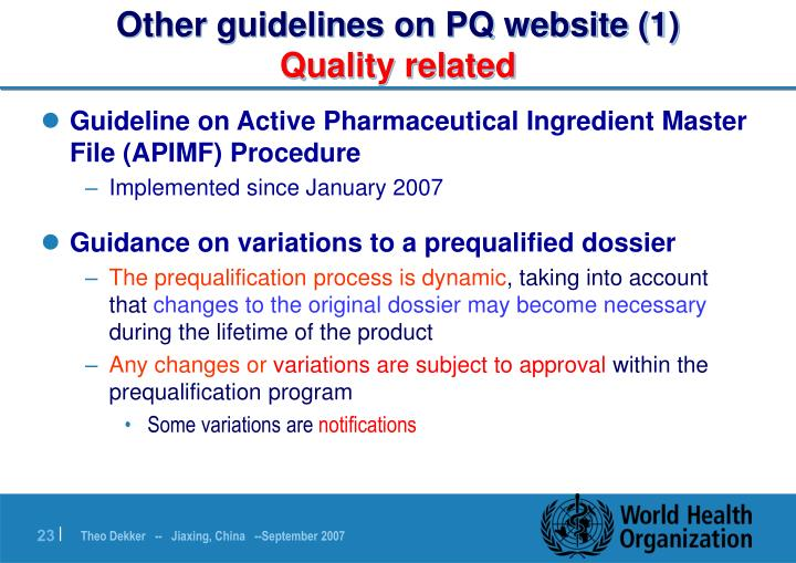 Other guidelines on PQ website (1)