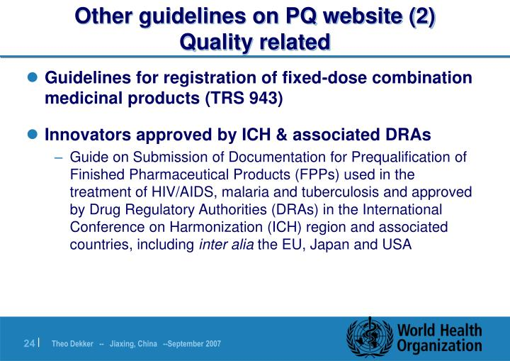 Other guidelines on PQ website (2)
