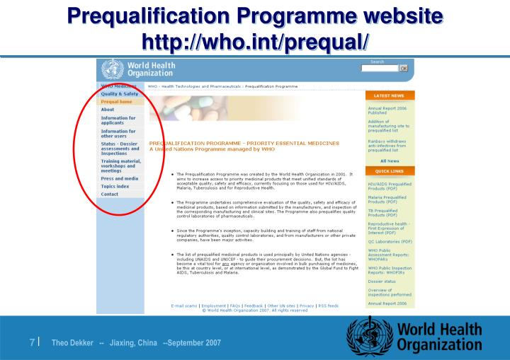 Prequalification Programme website