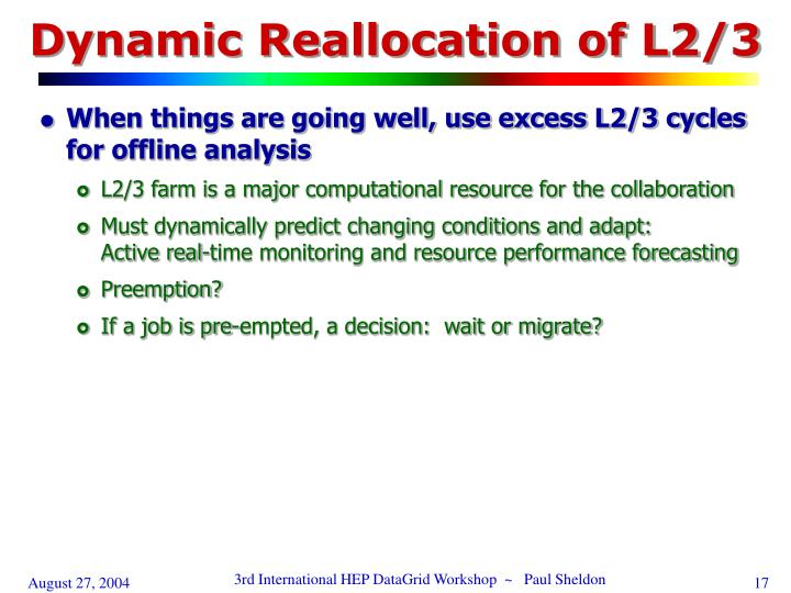 Dynamic Reallocation of L2/3