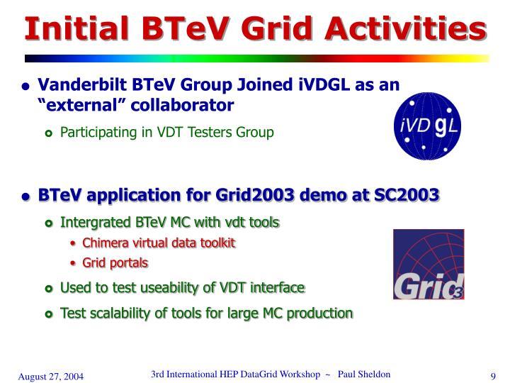 Initial BTeV Grid Activities