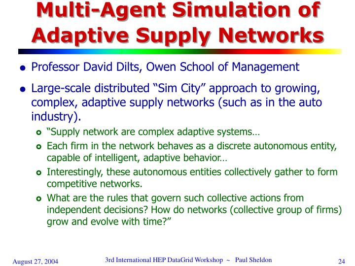 Multi-Agent Simulation of Adaptive Supply Networks