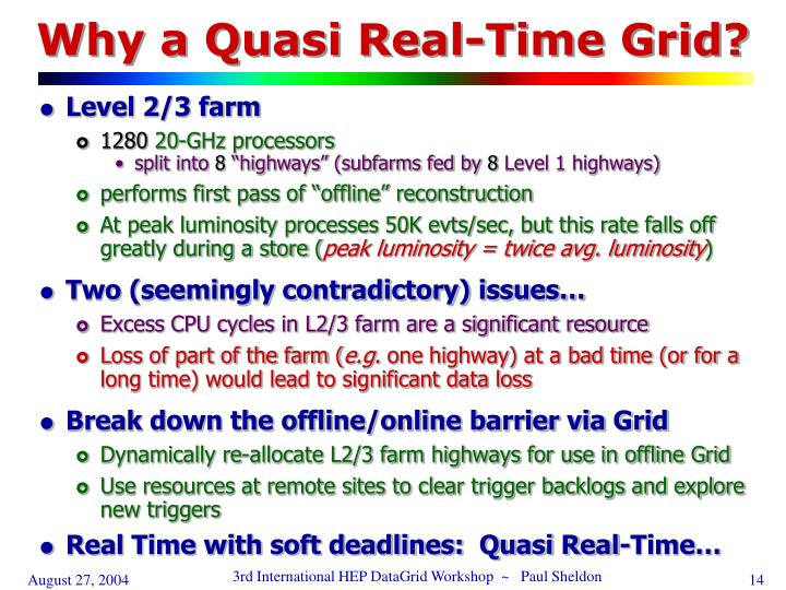 Why a Quasi Real-Time Grid?